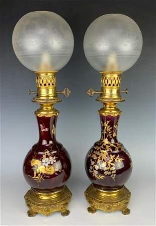 Pair Antique Porcelain & Bronze Oil Lamps