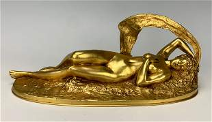 French Dore Erotic Bronze Mechanical Nude