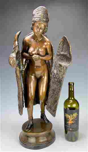 Large Mechanical Bronze of a Nude Lady & Fur Coat