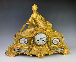 Louis XV Gilt Bronze Figural Mantel Clock