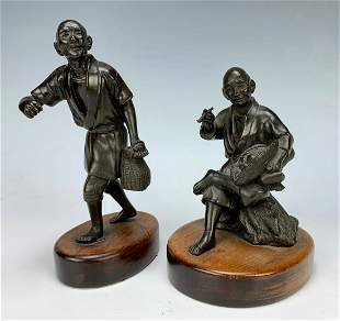 Pair Meiji Period Japanese Bronze Figures C. 1900