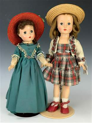 2 Hard Plastic Dolls in Vintage Outfits