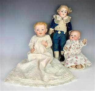 3 Antique Bisque Head Dolls, Including a Kestner