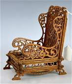 Antique Fretwork Wood Chair C. 1910