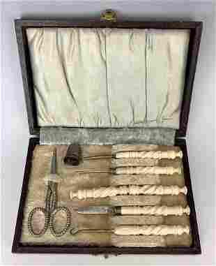 Antique Carved Bone Sewing Set in Case