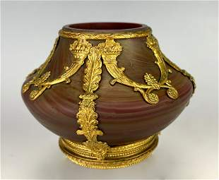 Empire Art Glass w/ Gilt Bronze Overlay Vase
