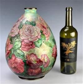 Large Camille Faure Enameled Floral Vase
