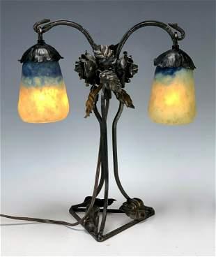 Art Deco Daum Nancy Glass Lamp, Wrought Iron Base