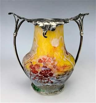 Daum Nancy Cameo Glass Vase w/ Silver Collar