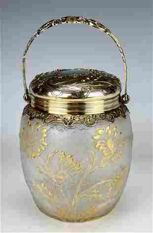 Rare Sgd. Daum Nancy Cameo Glass & Silver Jar