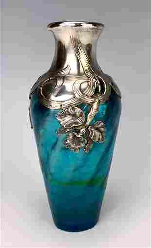 Loetz Type Vase w/ Sterling Iris Collar