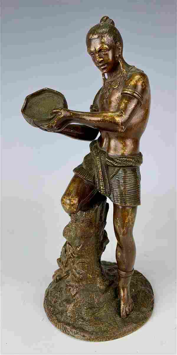 Antique Bronze Figurine of Native Man