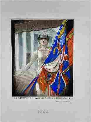 "Rare Louis Icart (1888-1950) ""Victory"" D. 1944"