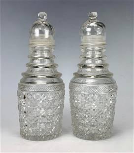 Pair Antique Cut Glass Muffineers C. 1900