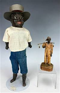2 Black Americana Figures, Fisherman & Doll