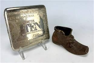 Austrian Bronze Shoe w/ Novelty Cigarette Case