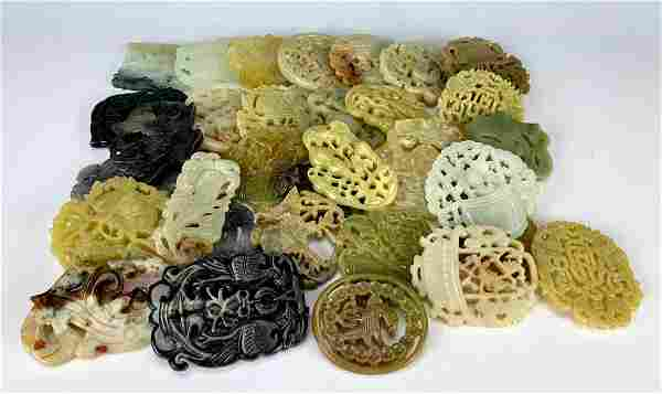Large Collection of 32 Chinese Hardstone Carvings