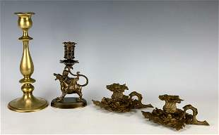 Group of 4 Bronze Candlesticks w/ One Signed