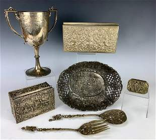 Group of 7 Silver Plated Boxes, Goblet, etc.
