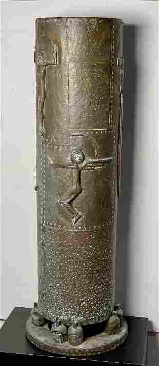 Hand Hammered Arts & Crafts Pedestal