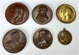 Group of 6 Antique Bronze Medals, 1 Abe Lincoln