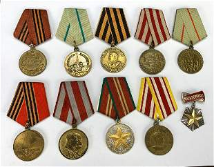 Group of 10 Soviet Medals