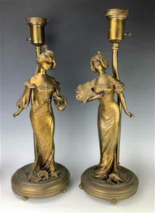 Lucien Alliot (1877-1967)Pair Bronzed Figural Lamps