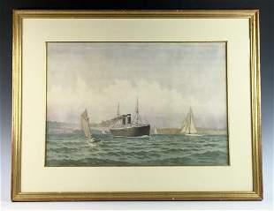 Frederick Cozzens (1846-1928) Ships Watercolor