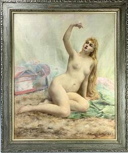 """Henry Charles Daudin """"Nude with Mouse"""""""