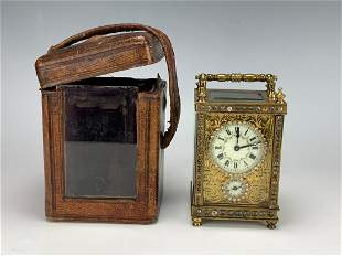 Antique French Carriage Clock w/ Jewels & Case