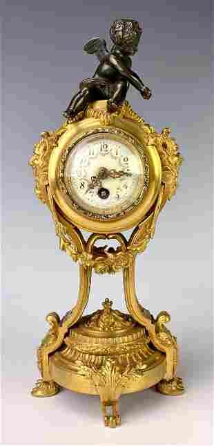 Louis XV Bronze Cherub with Satyr Heads Clock