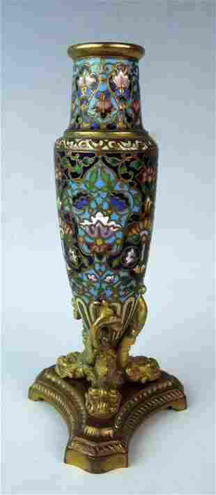 Champleve Enamel & Dore Bronze Bud Vase