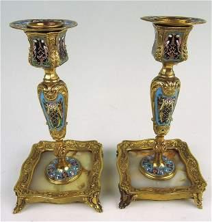 Pair of Champleve Enamel & Bronze Candlesticks