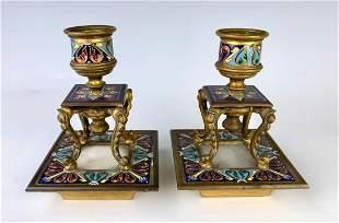 Pair Champleve, Gilt Bronze & Onyx Candlesticks