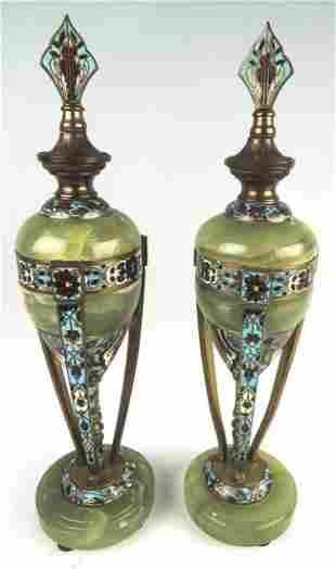 Pair French Champleve Enamel Bronze & Onyx Urns