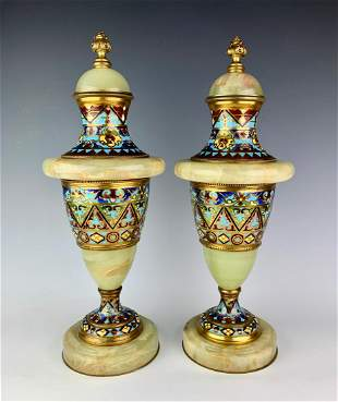 Pair of Bronze, Onyx and Champleve Enamel Urns