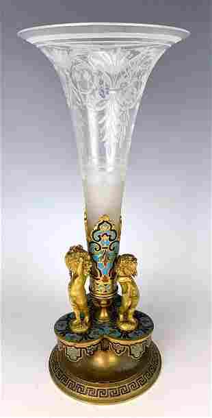 Champleve Enamel & Gilt Bronze Putti Vase C.1900