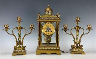 19th C. Champleve & Gilt Bronze 3pc. Clock Set