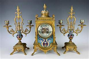19th C. Champleve and Bronze Clock Garniture