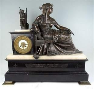 19th C Egyptian Revival Bronze Cleopatra Clock