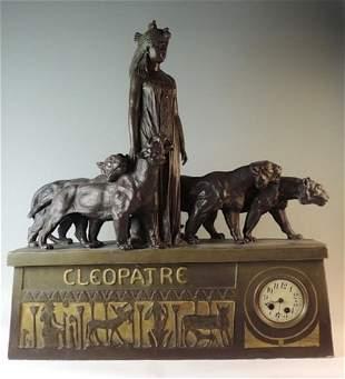 Monumental Antique Goldscheider Cleopatra Clock