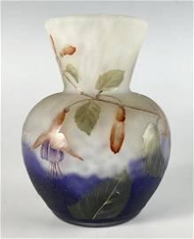 """Daum Nancy Cameo """"Fuchsias"""" Vase"""