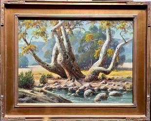 """Paul Grimm """"Sycamore Study"""" California Painting"""