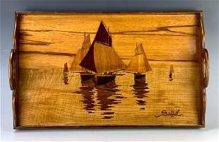 """Emile Galle Inlaid Wood Tray """"Fishing Boats"""""""