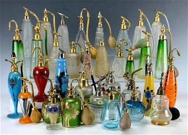 Collection 34 French Perfume Atomizers C.1920