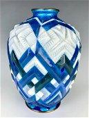 Camille Faure (1875-1956) Art Deco Chevron Vase