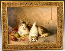 """Jules LeRoy (Fr. 1833-1865) """"Cats with Yarn"""""""
