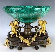 Two Tone Gilt Cherub Bronze Centerpiece w/ Bowl