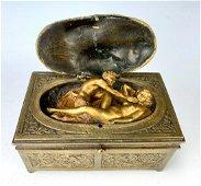 Sgd. Bergman Antique Erotic Mechanical Bronze Box