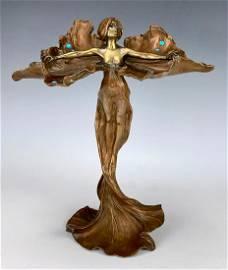 Rare Bronze Loie Fuller Figurine Signed Bergman